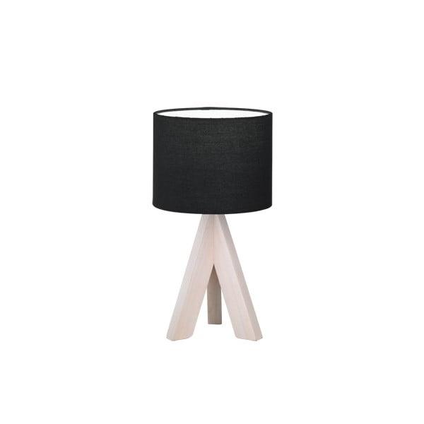 Černá stolní lampa z přírodního dřeva a tkaniny Trio Ging, výška 31 cm