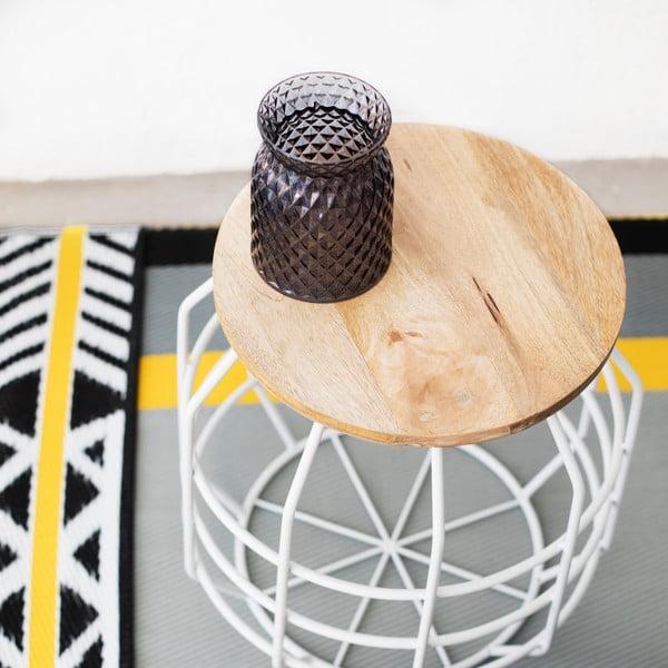 Bílý stolek s deskou z mangového dřeva HF Living Peak