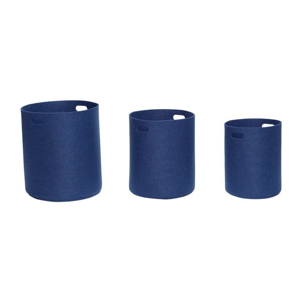 Set 3 coșuri depozitare Hübsch Azuleo, albastru închis