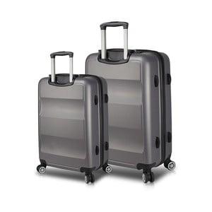 Sada 2 šedých cestovních kufrů na kolečkách s USB porty My Valice LASSO Large & Medium