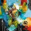 Freja Blue Owl, 100x100 cm