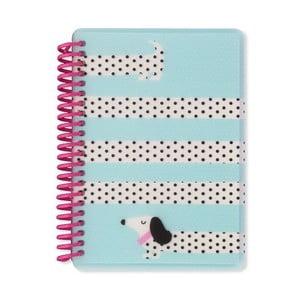 Modrý zápisník A6 Go Stationery Dotty Dogs