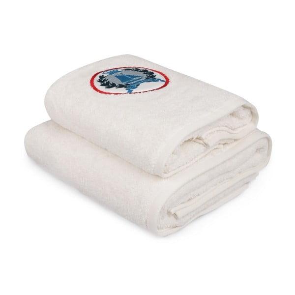 Set bílého ručníku a bílé osušky s barevným detailem Yacht Club
