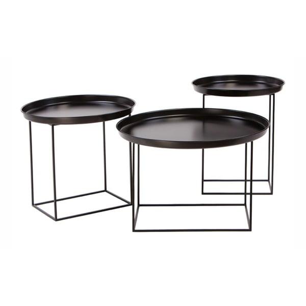 Ramme 3 db-os fekete fém dohányzóasztal szett - Nørdifra