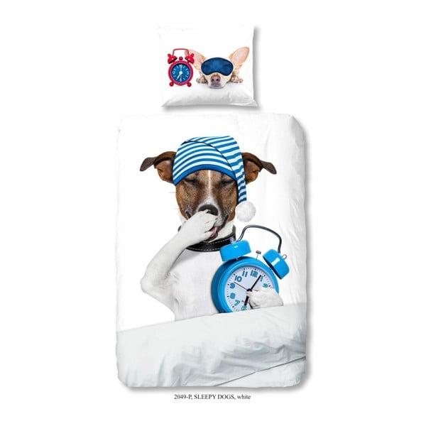Dziecięca pościel jednoosobowa z czystej bawełny Muller Textiels Sleepy Dog, 140x200 cm