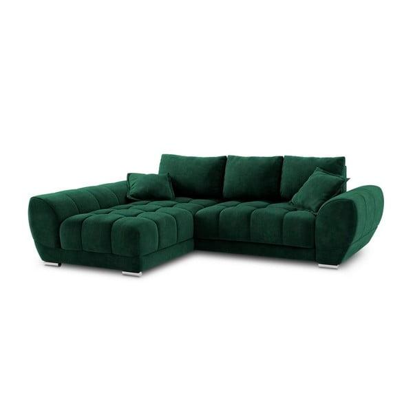 Colțar extensibil cu tapițerie de catifea și șezlong pe partea stângă Windsor & Co Sofas Nuage, verde smarald