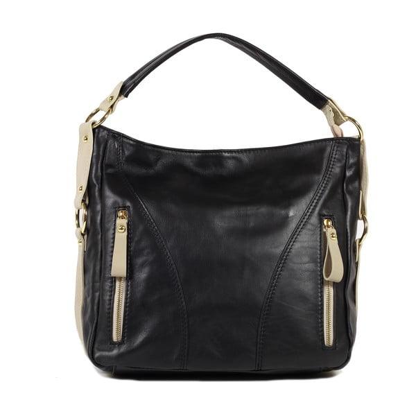 Kožená kabelka Linda, černá/béžová