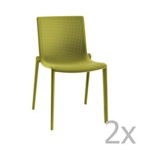 Sada 2 zelených zahradních židlí Resol Beekat Simple