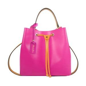 Fuchsiová kožená kabelka se žlutým detailem Maison Bag Lexy