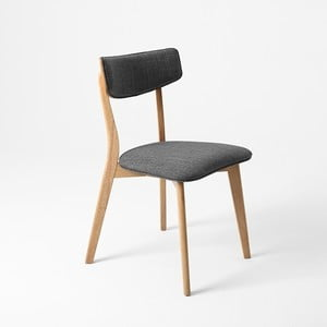 Šedá židle s bukovými nohami Clark