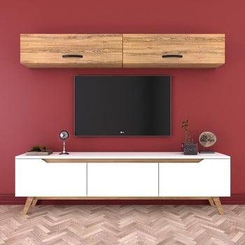Set comodă Tv și 2 dulapuri de perete Wren Natural, alb-natural