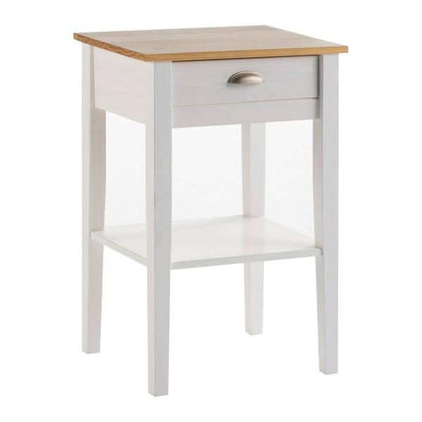 Biely nočný stolík z masívneho borovicového dreva se zásuvkou Marckeric Jade