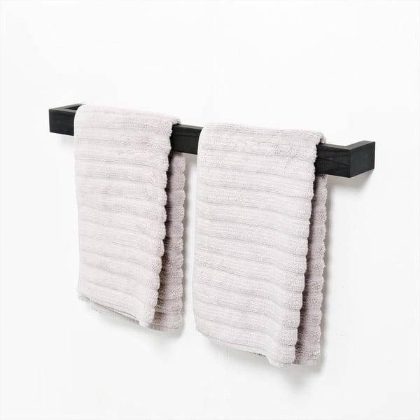 Černý nástěnný věšák na ručníky zdubového dřeva Wireworks