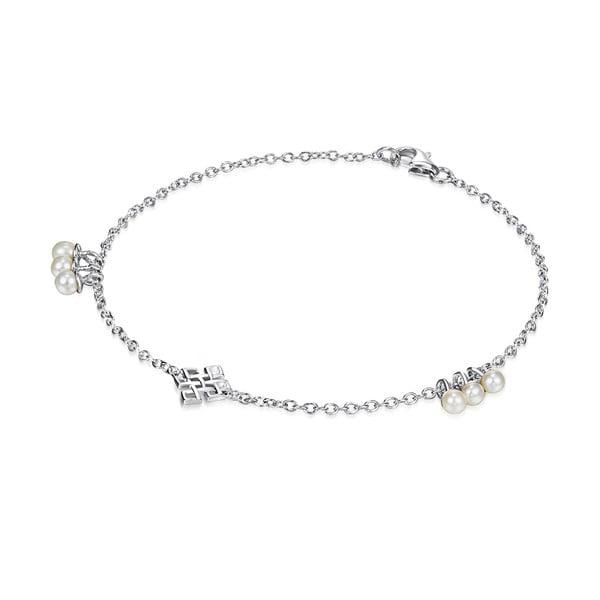 Stříbrný náramek s perlami a přívěskem Chakra Pearls Done, 17 cm