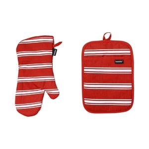 Set mănușă bucătărie și suport sub vase fierbinți Ladelle Butcher Stripe, roșu