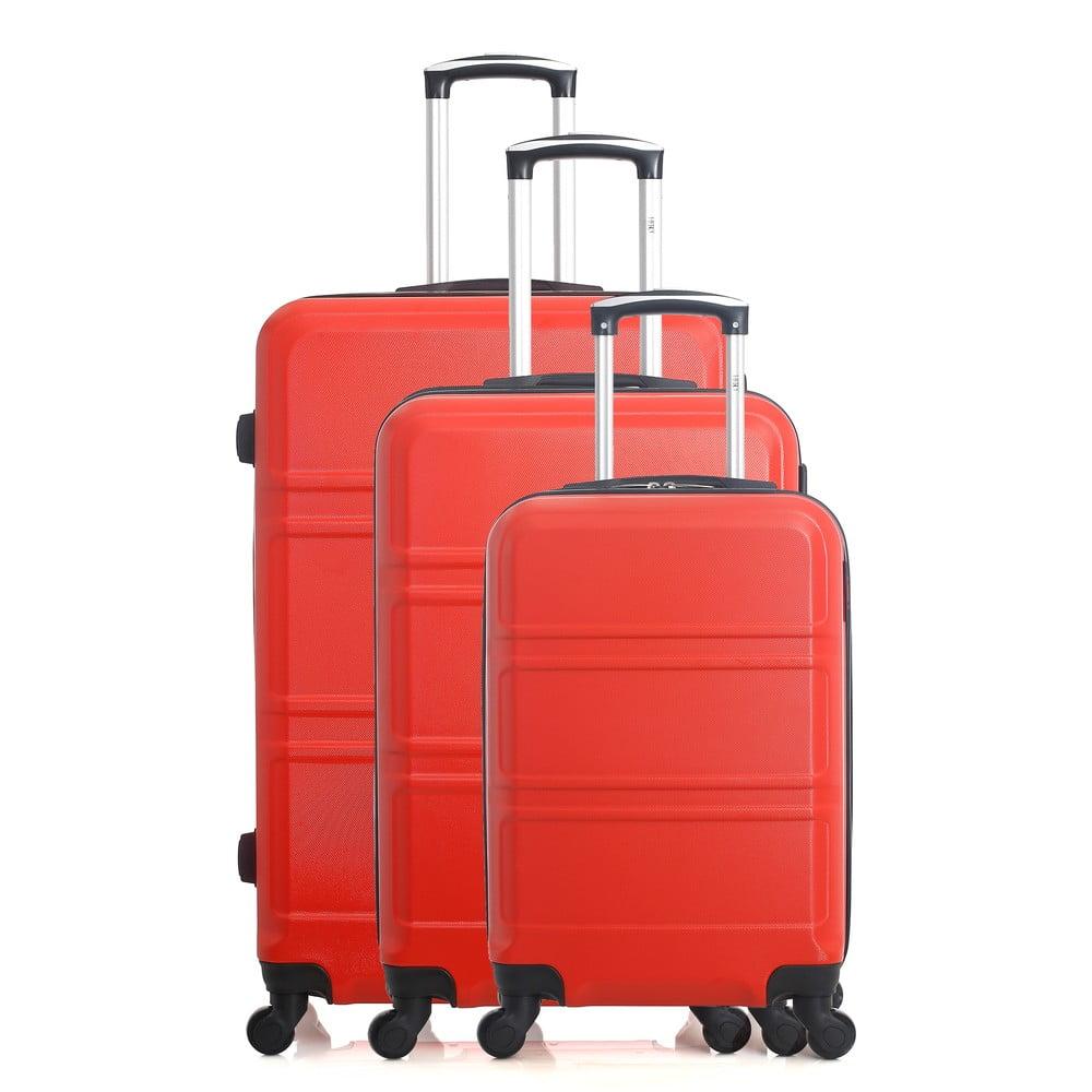 Sada 3 červených cestovních kufrů na kolečkách Hero Utah