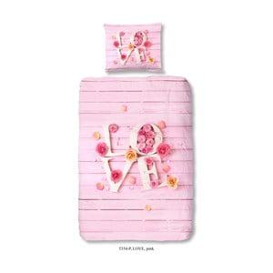 Lenjerie de pat din bumbac pentru copii Good Morning Pinkie Love, 140 x 200 cm