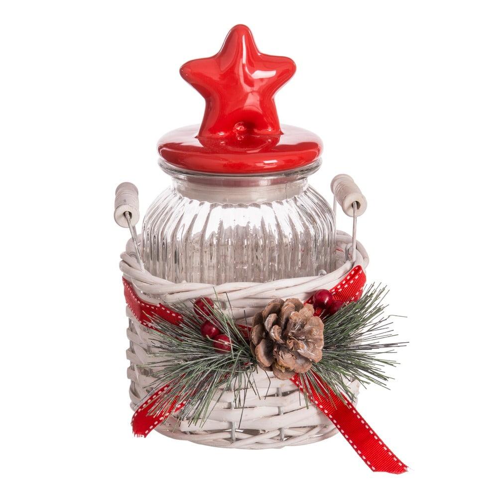 Dóza v úložném košíku Unimasa Christmas, výška23cm
