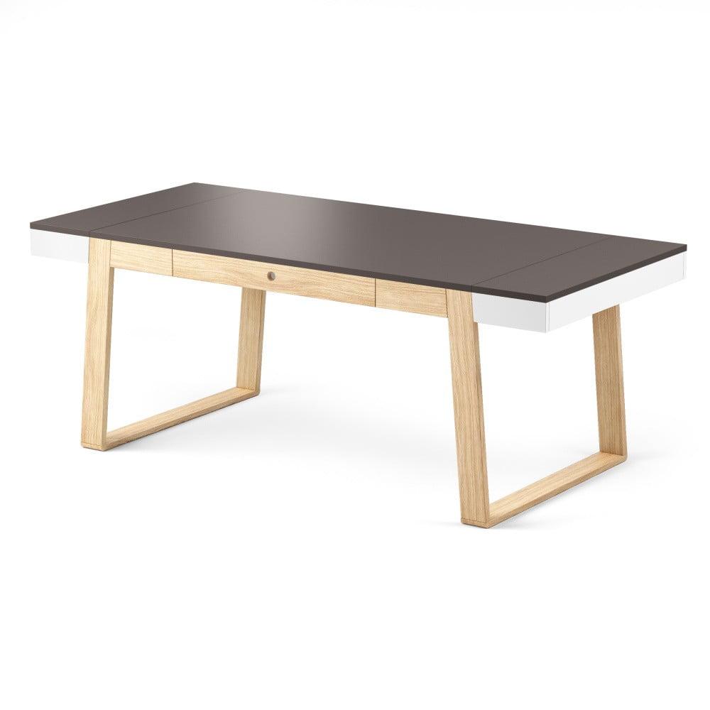 Jídelní stůl z dubového dřeva s šedými detaily Absynth Magh, 198 x 100 cm