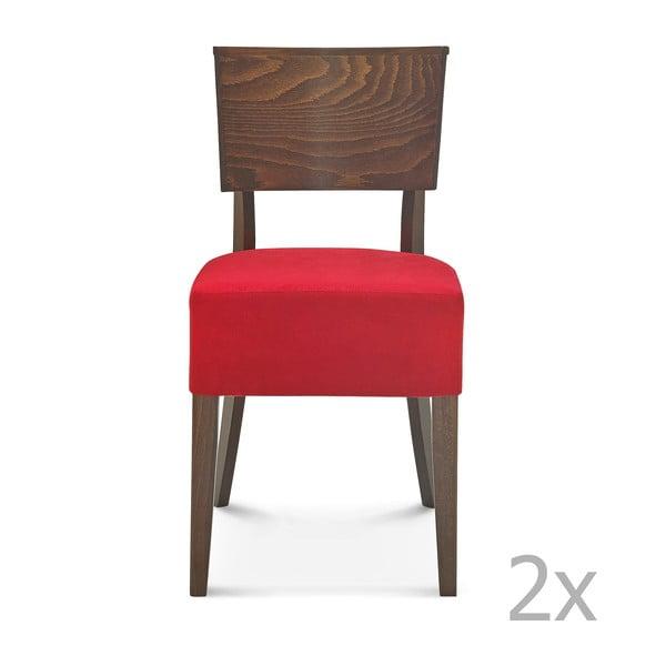 Sada 2 dřevěných židlí s červeným polstrováním Fameg Else