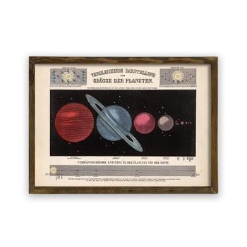Tablou cu ramă din lemn Planets, 70 x 50 cm