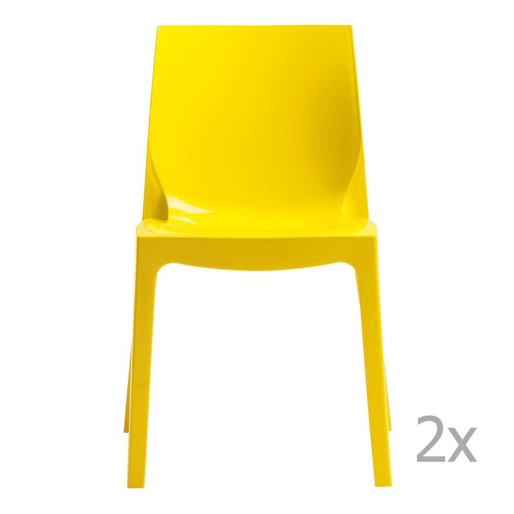 Sada 2 žlutých jídelních židlí Castagnetti Ice