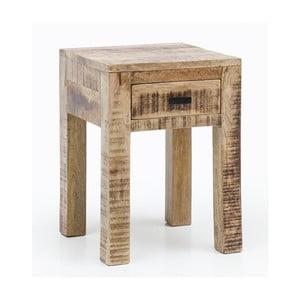 Odkládací stolek se zásuvkou z masivního mangového dřeva Skyport RUSTICA