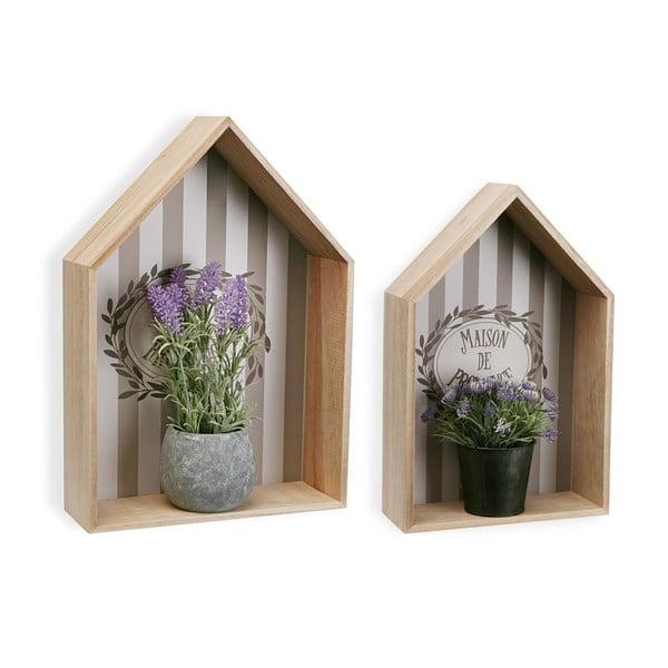 Sada 2 drevených nástenných políc na kvetináče VERSA