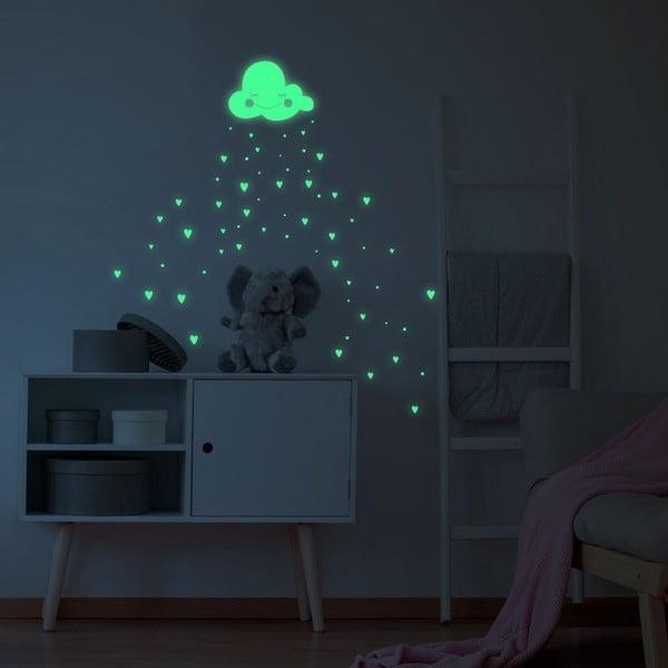 Autocolant fosforescent pentru perete Ambiance Hearts and Clouds