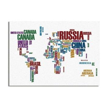Tablou Really Nice Things Typo Worldmap, 50 x 70 cm de la Really Nice Things