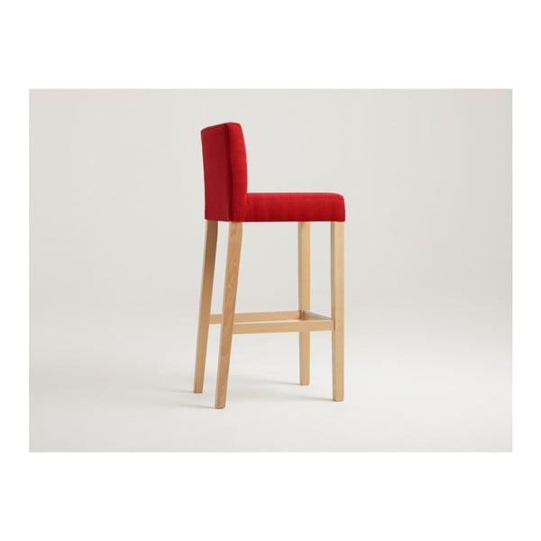 Červená barová židle s přírodními nohami Custom Form Wilton