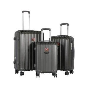 Sada 3 tmavě šedých cestovních kufrů LULU CASTAGNETTE Edge