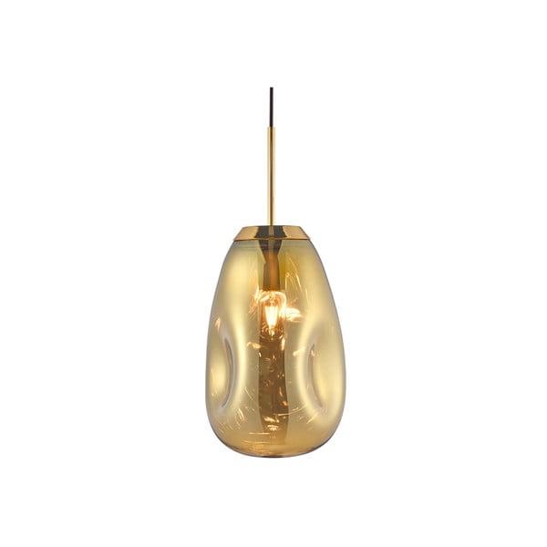 Závěsné svítidlo z fúkaného skla v zlaté barvě Leitmotiv Pendulum, výška 33cm
