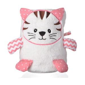 Bílo-růžová deka s motivem kočky Le Studio Cat