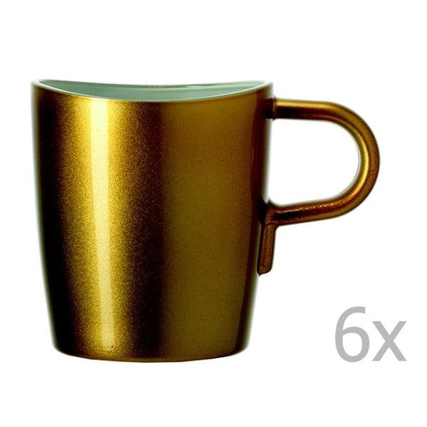 Sada 6 zlatých metalických hrnků na kávu LEONARDO Loop, 260 ml