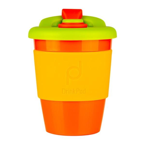 Oranžovo-žltý cestovný hrnček na kávu Drink Pod Kofein, 340 ml