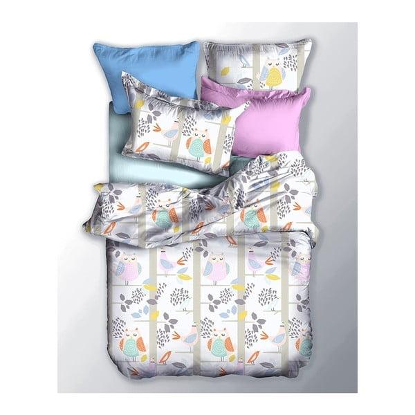 Lenjerie de pat din microfibră pentru pat de 1 persoană DecoKing Basic Sowa, 155 x 220cm