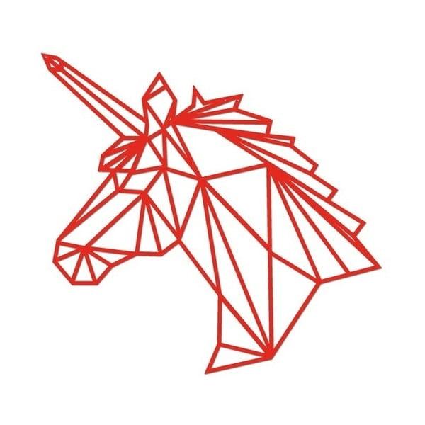 Červená kovová nástěnná dekorace Wall Decor Unicorn