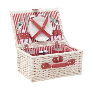 Červeno-bílý piknikový koš z vrbového proutí s nádobím InArt, 38 x 26 cm