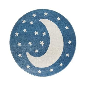 Covor rotund KICOTI Moon, ø 133 cm, albastru-alb de la KICOTI