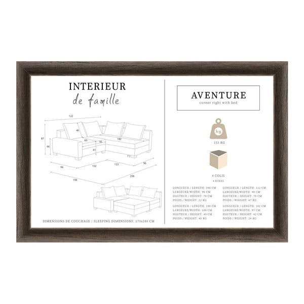 Antracitově šedá rohová pohovka s lůžkem na pravé straně INTERIEUR DE FAMILLE PARIS Aventure