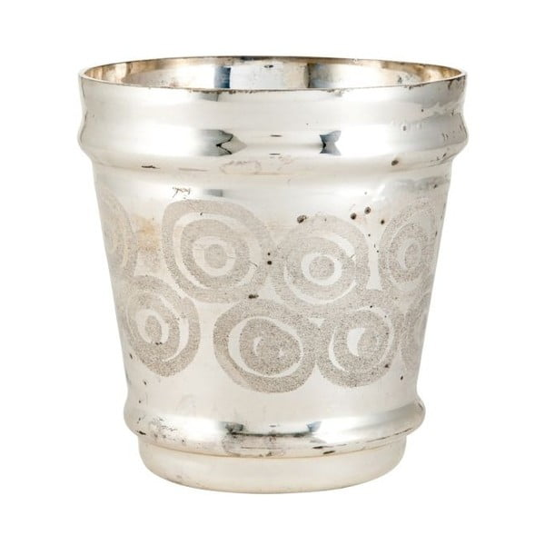 Svícen Circle Silver, 15x15x16 cm