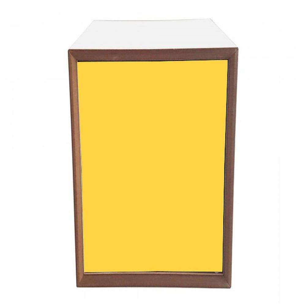 Policový díl s bílým rámem a žlutými dvířky Ragaba PIXEL, 40 x 80 cm