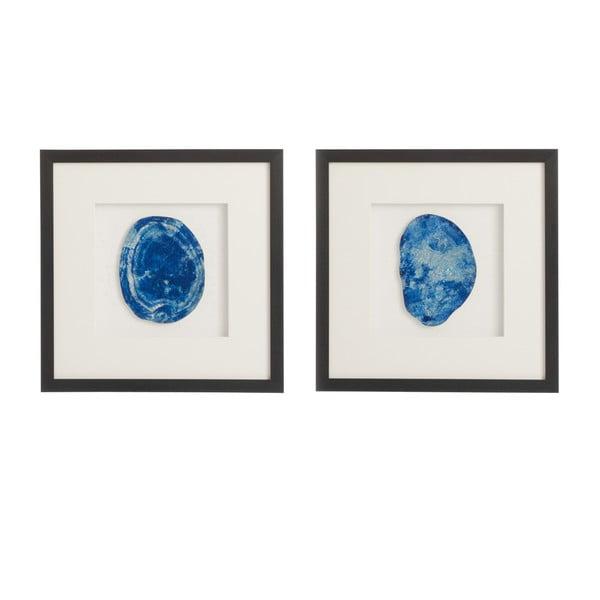 Sada 2 obrazů s achátem Agate, 40x40 cm