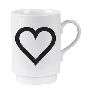 Porcelánový písmenkový hrnek KJ Collection Heart, 250 ml