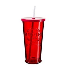 Sada 4 červených sklenic s víčkem a brčkem SUMMER FUN II, 650ml