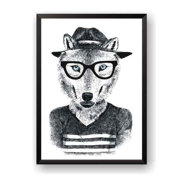 Plakát Nord & Co Hipster Wolf, 50 x 70 cm