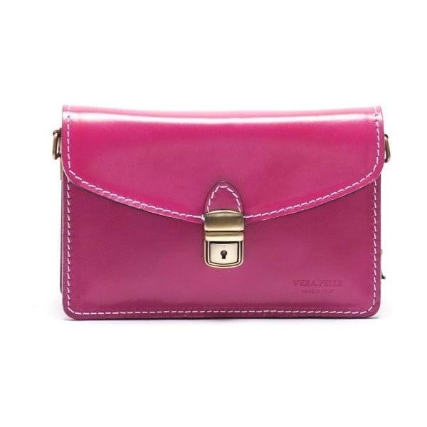 Růžová kožená kabelka Mangotti Lotus