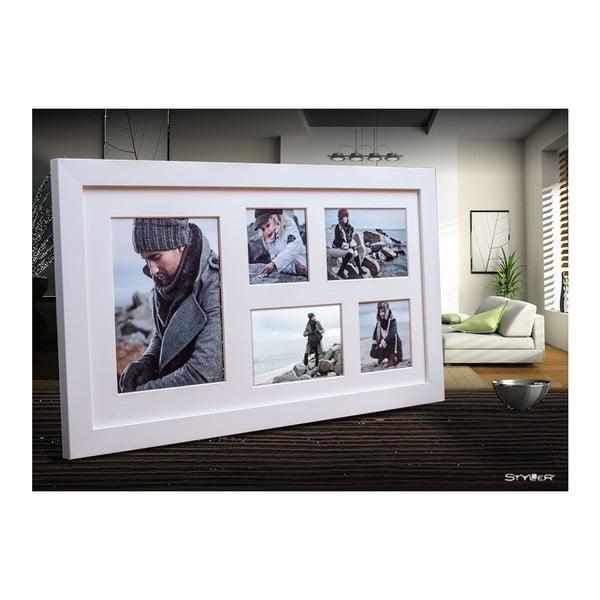 Bílý rámeček na 5 fotografií Styler Narvik, 27x51cm