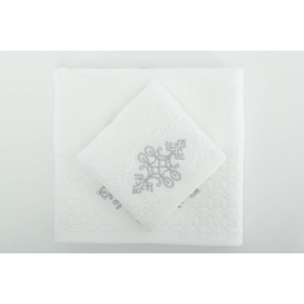 Sada 2 ručníků Isle White Silver, 30x50 cm + 50x90 cm